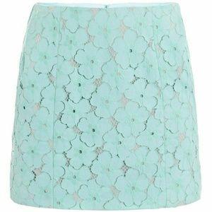 DVF Clyde Mini Flower Lace Skirt